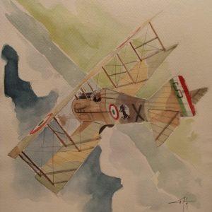 illustrazione originale aereo di Baracca