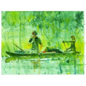 Poster di Corto Maltese di Hugo Pratt. Raffigura Corto Maltese in canoa di Hugo Pratt